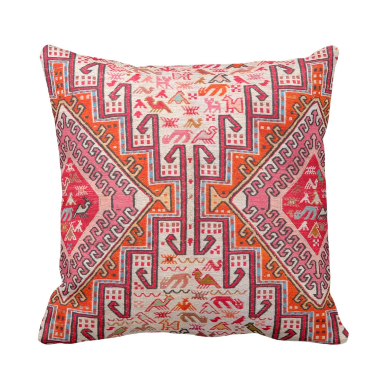 Colorful Kilim Print Throw Pillow Or Cover Boho Rug Print