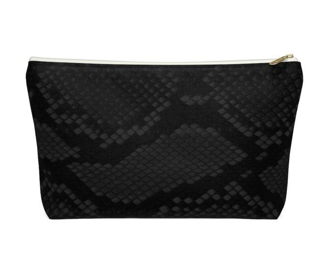 Black Snakeskin Print Zippered Pouch, Animal Printed Design, Cosmetics/Pencil/Make-Up Organizer/Bag, Gray/Grey Snake/Reptile Pattern