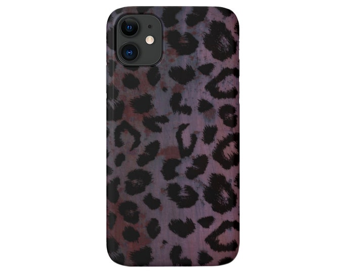 Plum Leopard Print iPhone 12, 11, XS, XR, X, 7/8, 6/6S Pro/Max/P/Plus Snap Case or TOUGH Protective Cover, Purple/Pink Animal Pattern Galaxy