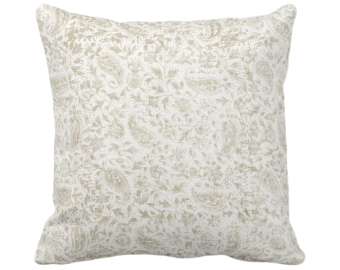 """Worn Floral Throw Pillow/Cover, Off Ivory 14, 16, 18, 20, 26"""" Sq Pillows/Covers, White/Bone/Beige Vintage/Natural/Subtle/Boho/Tribal Print"""