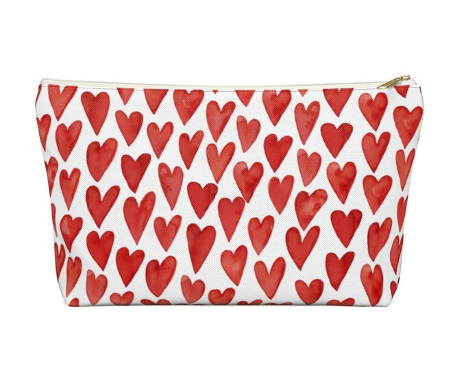 Watercolor Hearts Zippered Pouch, Red & White Print, Cosmetics/Pencil/Make-Up Organizer/Bag, Hand-Drawn/Painted Heart Pattern/Design