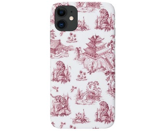 Tiger Toile iPhone 12, 11, XS, XR, X, 7/8, 6/6S, Pro/Max/P/Plus Snap Case or Tough Protective Cover Black Cherry Pagoda/Willow Pattern