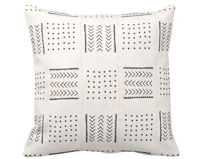 """Mud Cloth Printed Throw Pillow or Cover, Arrows & Dots Off-White/Black 14, 16, 18, 20, 26"""" Sq Pillows/Covers, Mudcloth/Boho/Cross/Tribal"""