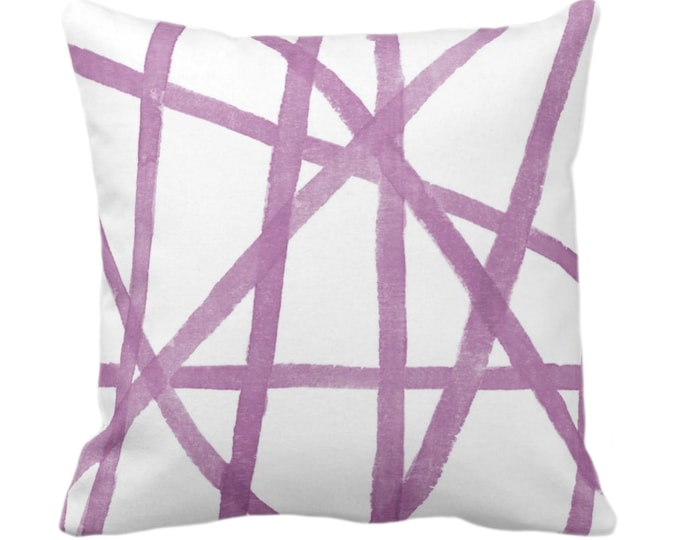 """Hand-Painted Lines Throw Pillow or Cover, White & Lavender 14, 16, 18, 20, 26"""" Sq Pillows/Covers Purple Modern/Geometric/Geo/Abstract Print"""