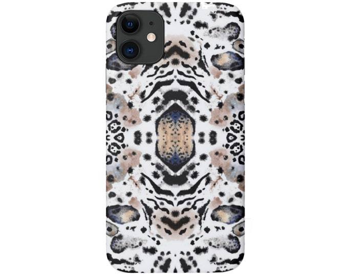 Mirror Leopard iPhone 12, 11, XS, XR, X, 7/8, 6/6S Pro/Max/P/Plus Snap Case or TOUGH Protective Cover Beige/Black Animal Print/Pattern