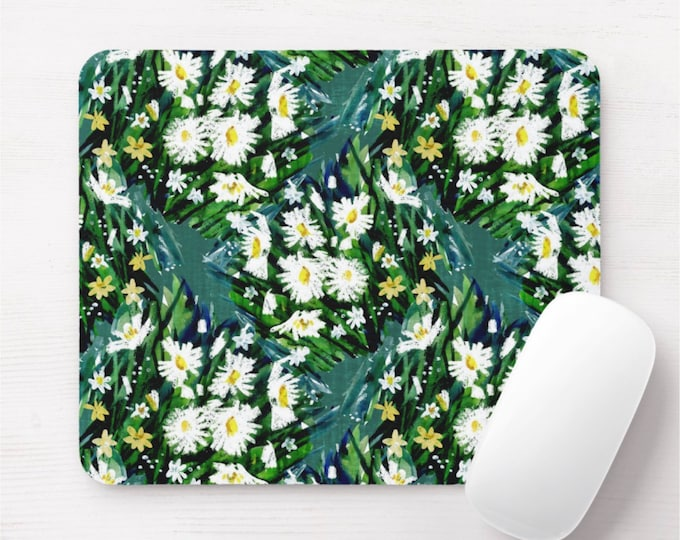 Retro Floral Mouse Pad, Vintage Maximalist Blue/Green/Yellow/Black Flowers/Art Print/Pattern Mousepad, Bright/Colorful/Happy/Jungalo
