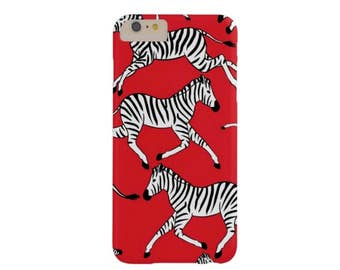 Zebras iPhone 7, 7P or 6/6S, 6 Plus Case-Mate BARELY THERE or TOUGH Case/Cover, Red, Black & White Zebra Print