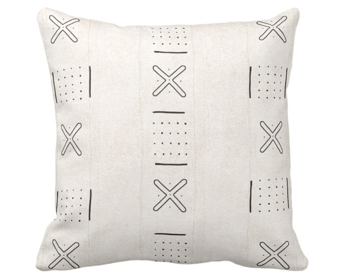 """Mud Cloth Printed Throw Pillow or Cover, X Outline/Dots Off-White/Black 14, 16, 18, 20, 26"""" Sq Pillows/Covers, Mudcloth/Boho/Cross/Tribal"""