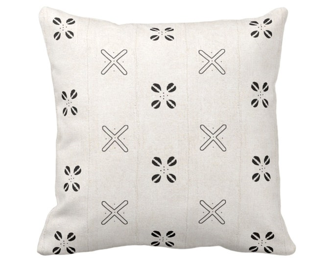 """Mud Cloth Printed Throw Pillow or Cover, Cowrie Shell Off-White/Black 14, 16, 18, 20, 26"""" Sq Pillows/Covers Mudcloth/Boho/Cross/Tribal Print"""