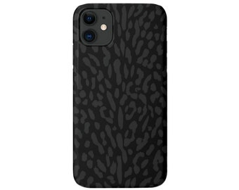 Abstract Animal Print iPhone 12, 11, XS, XR, X, 7/8, 6/6S Pro/Max/Plus/P Snap Case or TOUGH Protective Cover, Black/Grey Animal Spots Galaxy