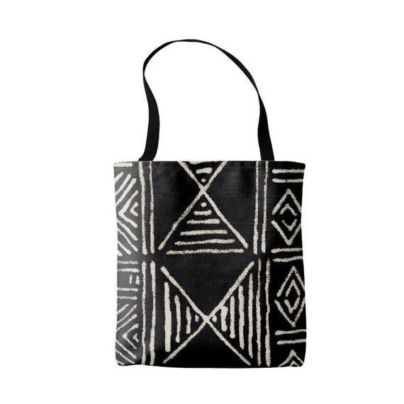 dcbefa2dd2 Mud Cloth Abstract Geometric Print Market Tote Black and