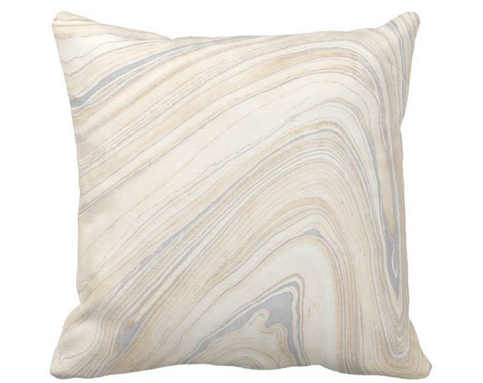 """OUTDOOR Marble Print Throw Pillow or Cover, Beige/Gray 14, 16, 18, 20, 26"""" Sq Pillows/Covers Marbled/Abstract/Lines/Modern/Wave Pattern"""