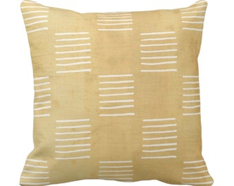 """OUTDOOR Mud Cloth Lines Printed Throw Pillow or Cover, Mustard/White 14, 16, 18, 20, 26"""" Sq Pillows/Covers, Mudcloth/Boho/Geometric/African"""