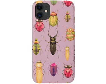 Beetle Print iPhone 12, 11, XS, XR, X, 7/8, 6/6S Pro/P/Plus/Max Snap Case or TOUGH Protective Cover, Insect/Bug/Bugs/Beetles Pattern, Galaxy
