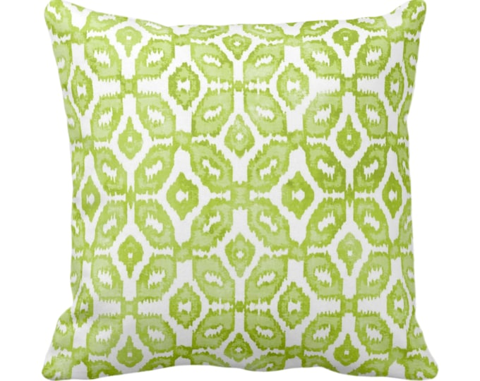 "OUTDOOR Ready 2 Ship - Wasabi Ikat Print Throw Pillow Cover 20"" Sq Pillows/Covers, Green/White Geometric/Diamond/Trellis/Geo/Tribal"