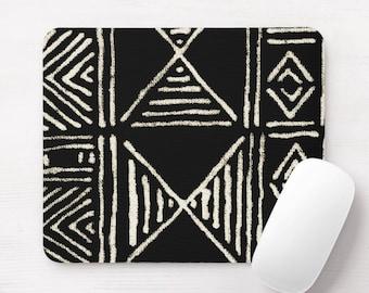 Mud Cloth Print Mouse Pad/Mousepad, Black & Off-White Mudcloth/Tribal/African/Boho/Geometric/Geo/Diamond Pattern/Design Neoprene Mousepads