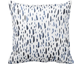 """Hand-Painted Dashes Throw Pillow or Cover, Navy/White 14, 16, 18, 20, 26"""" Sq Pillows or Covers Blue Dot/Dots/Speckled/Splatter Print"""