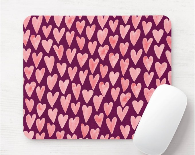 Watercolor Hearts Mouse Pad, Pink & Plum Mousepad, Hand Painted Heart Print/Pattern, Blush/Rose/Burgundy/Wine Valentine's Day Modern/Art