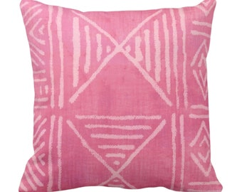"""OUTDOOR Mud Cloth Printed Throw Pillow or Cover, Bright Pink 14, 16, 18, 20, 26"""" Sq Pillows/Covers, Mudcloth/Boho/Geometric/African Print"""
