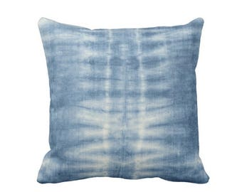 """Indigo Mud Cloth Lines Print Throw Pillow/Cover, 16, 18, 20 or 26"""" Sq OUTDOOR or INDOOR Pillows/Covers, Blue Mudcloth/Stripes/Geometric/Boho"""