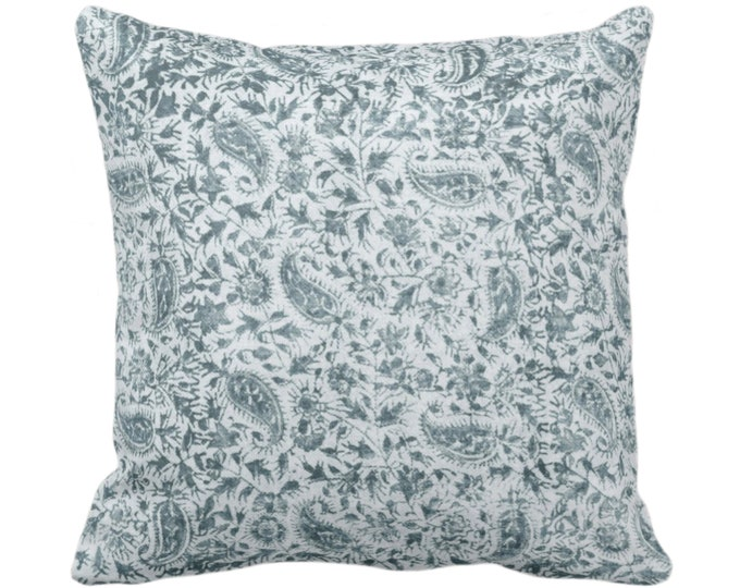"""Worn Floral Throw Pillow/Cover, Stormy Teal 14, 16, 18, 20, 26"""" Sq Pillows/Covers Dusty Blue/Green Vintage/Natural/Subtle/Boho/Tribal Print"""