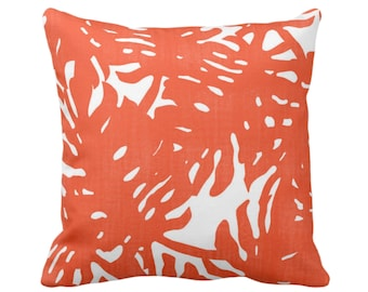 """Palm Silhouette Throw Pillow or Cover Flame/White 14, 16, 18, 20, 26"""" Sq Pillows/Covers Orange/Red Tropical/Leaf/Leaves/Palms Print/Pattern"""