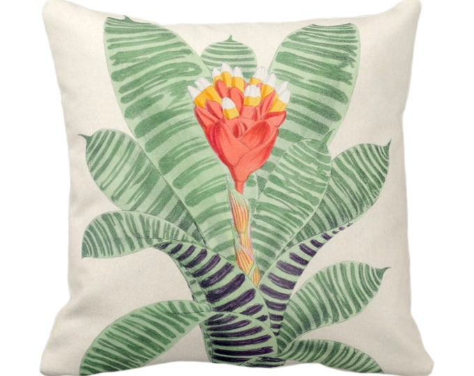 """OUTDOOR Vintage Botanical Red/Orange Bromeliad Throw Pillow or Cover, 14, 16, 18, 20, 26"""" Sq Pillows/Covers Leaves/Nature/Plant/Floral Print"""