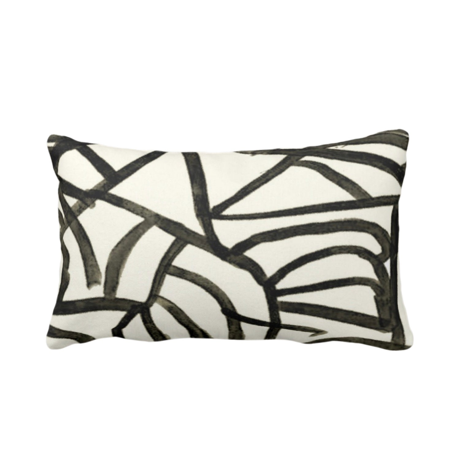 Abstract Print Throw Pillow or Cover, Ivory/Charcoal 14 x 20 Lumbar