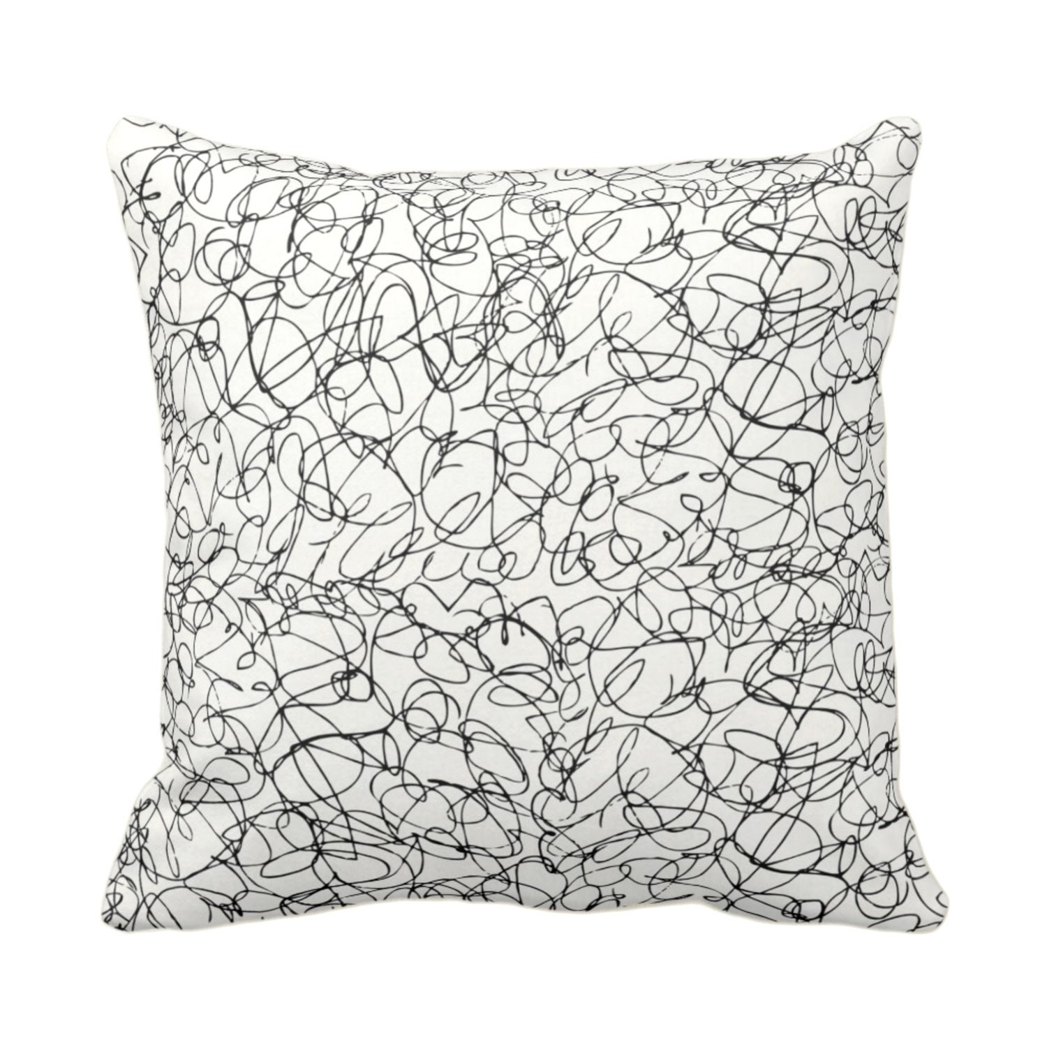 Outdoor Scribble Lines Throw Pillow Or Cover Ivory Black 16