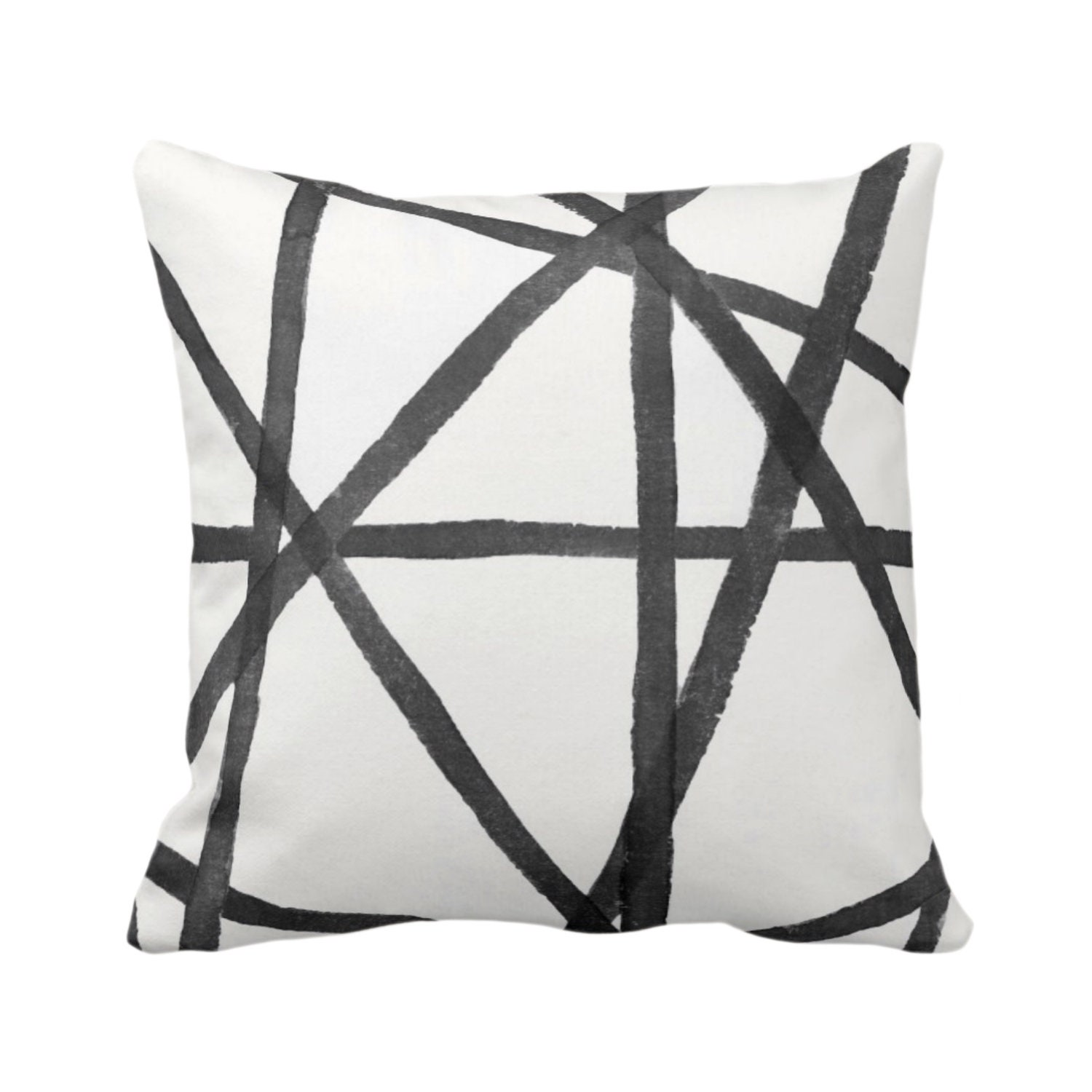 OUTDOOR Hand-Painted Lines Throw Pillow or Cover, Charcoal