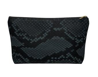 Teal Snakeskin Print Zippered Pouch, Animal Printed Design, Cosmetics/Pencil/Make-Up Organizer/Bag, Dark Green/Black Snake/Reptile Pattern
