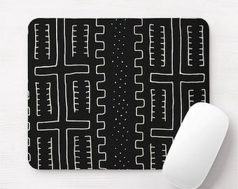 Mud Cloth Print Mouse Pad/Mousepad, Black Tribal African Print