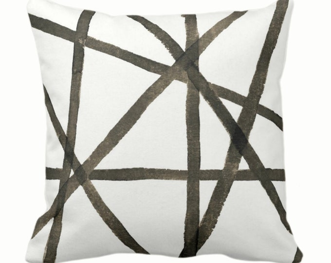 """OUTDOOR Hand-Painted Lines Throw Pillow/Cover, Smoky Quartz/Off-White 14, 16, 18, 20, 26"""" Sq Pillows/Covers, Brown Channels/Stripes/Print"""
