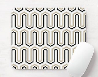 Retro Geo Print Mouse Pad, Taupe/Black/White/Gray Minimal/Vintage Pattern Mousepad/Mousepads, Arches/Hicks/Gates Geometric