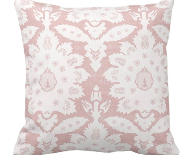 """Sofia Damask Print Throw Pillow or Cover, Soft Pink 14, 16, 18, 20, 26"""" Sq Pillows/Covers, Rose Floral/Ikat/Boho/Tribal/Farmhouse Pattern"""