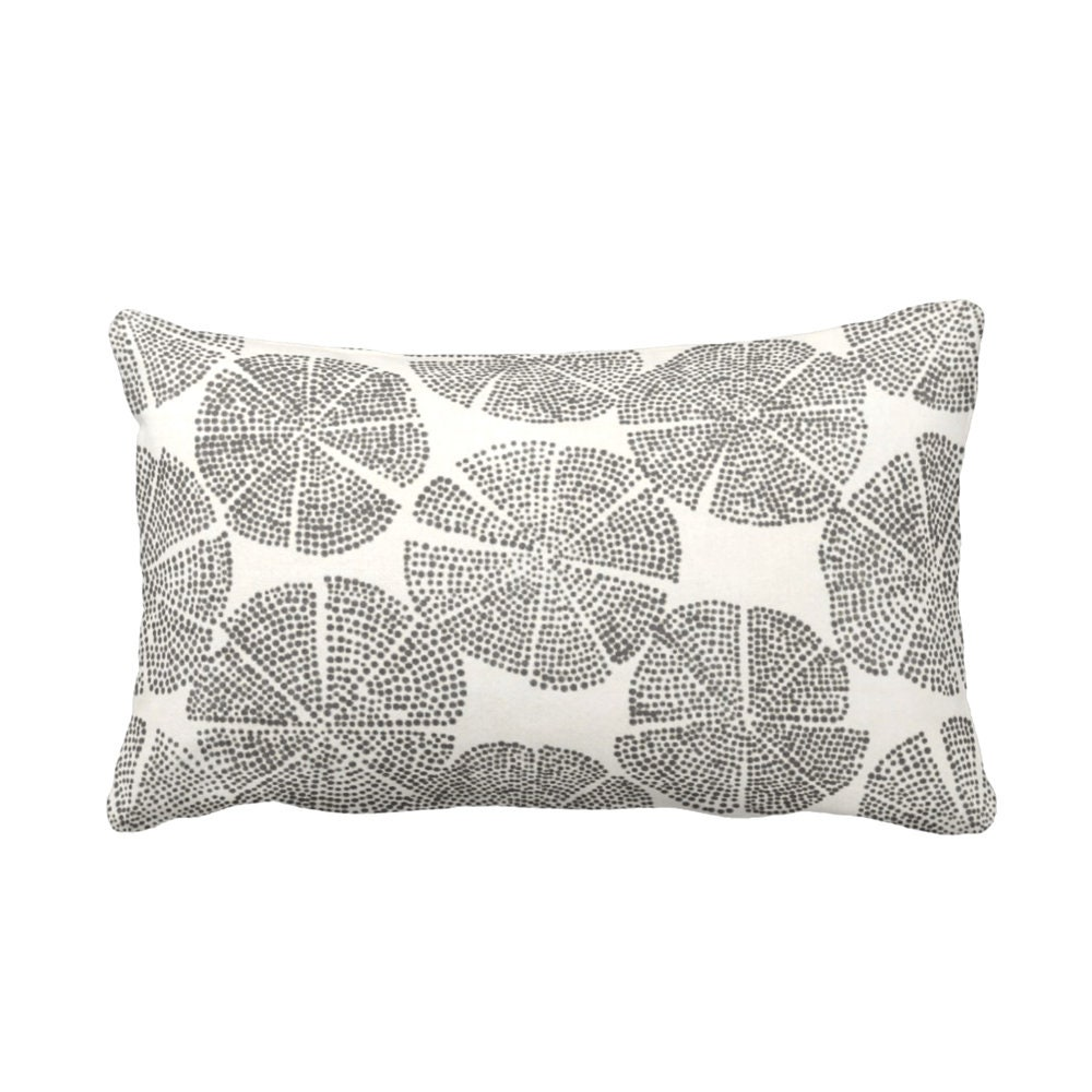 Blockprint Floral Throw Pillow or Cover, Charcoal/Natural White 14 x