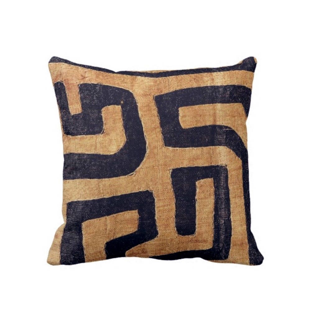 Kuba Cloth Printed Throw Pillow Cover Tan Black 18 Sq