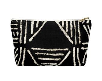 Mud Cloth PRINTED Geo Print Zippered Pouch, Black/White Tribal Design Cosmetics/Pencil/Make-Up Organizer/Bag, Boho/African Geometric Pattern