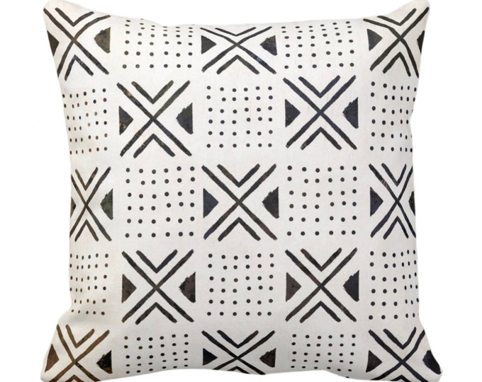 """OUTDOOR Mud Cloth Printed Throw Pillow or Cover, X's/Dots Off-White/Black 14, 16, 18, 20, 26"""" Sq Pillows/Covers, Mudcloth/Geo/Boho/Tribal"""