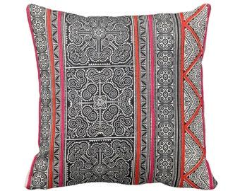 "OUTDOOR Thai Batik PRINTED Throw Pillow or Cover 14, 16, 18, 20, 26"" Sq Covers, Printed Vintage Hmong/Tribal Design, Blue/Indigo/Pink/Orange"