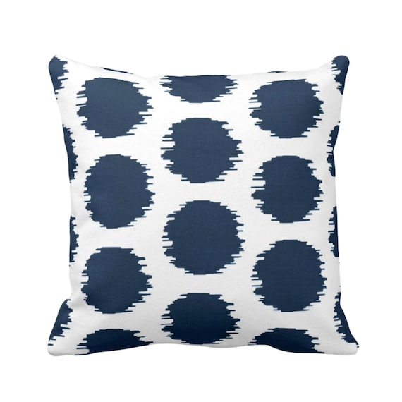 Ikat Dot Throw Pillow Or Cover Navy White 14 16 18 20 Or Etsy