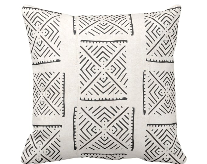 "Mud Cloth Printed Throw Pillow/Cover, Diamond Geo Off-White/Black 14, 16, 18, 20, 26"" Sq Pillows/Covers Mudcloth/Boho/X/Cross/Tribal Print"