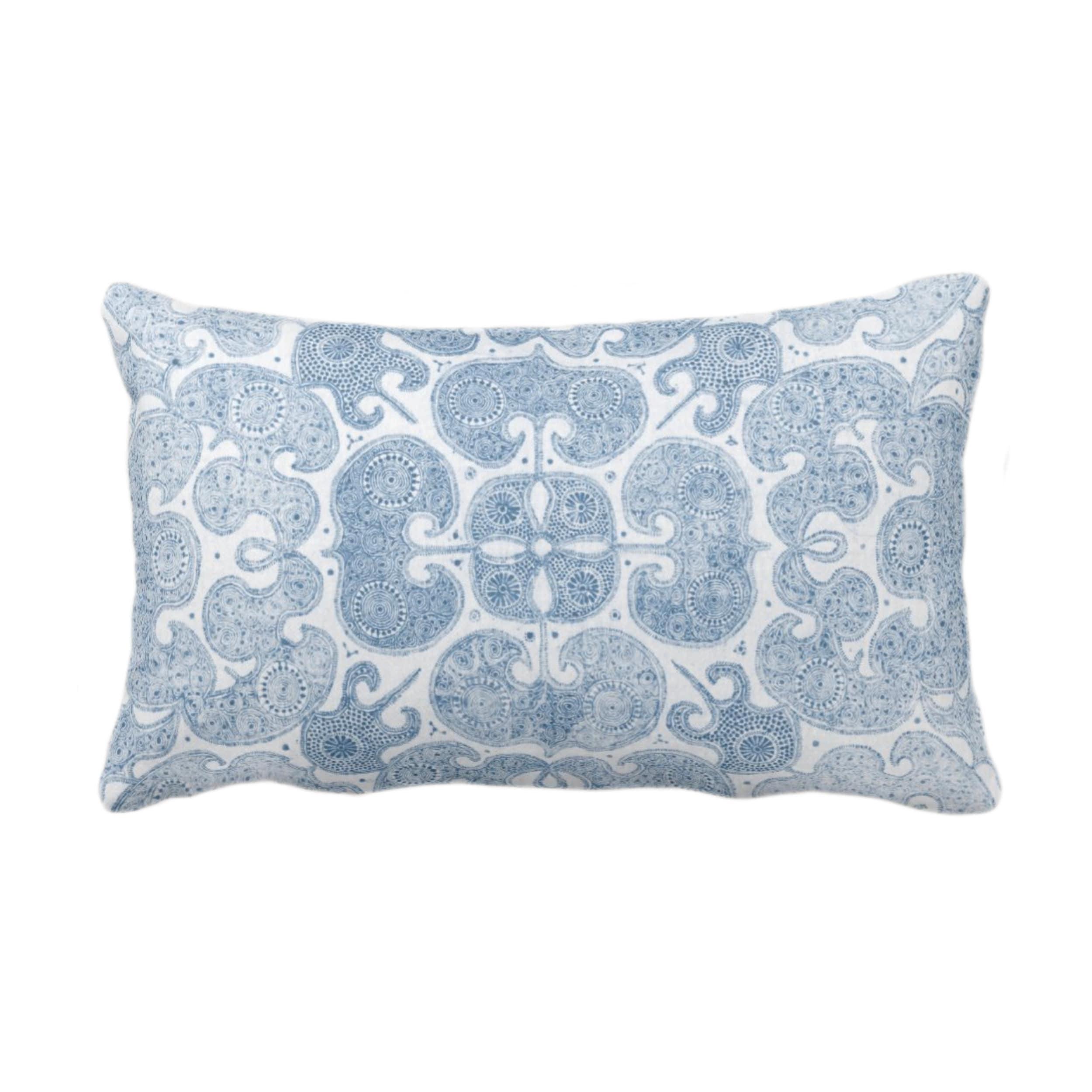 Outdoor Batik Print Throw Pillow Or Cover Washed Indigo 14 X 20 Lumbar Pillows Covers Light Blue Floral Geo Boho Tribal Hmong Pattern