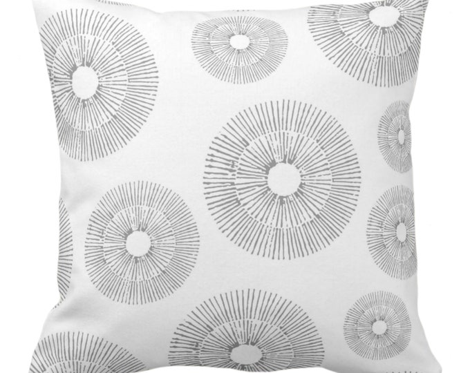 """Abstract Urchins Throw Pillow or Cover, Gray/White 14, 16, 18, 20 or 26"""" Sq Pillows/Covers, Light Grey Modern/Starburst/Geometric Print"""