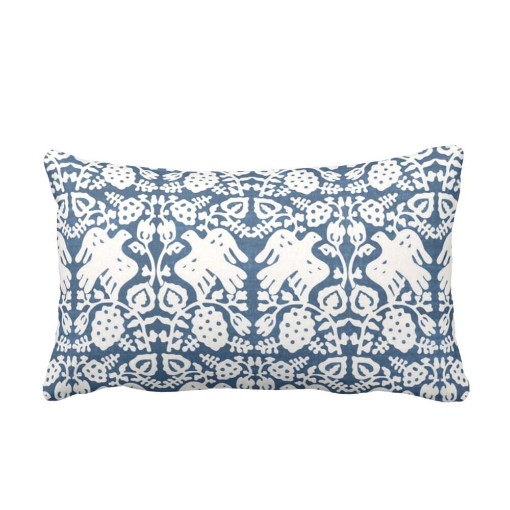 Block Print Bird Floral Throw Pillow Or Cover Indigo 14 X