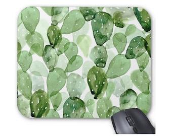 Watercolor Cactus Print Mouse Pad, Succulent Olive Green Botanical Mousepad