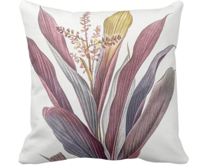 """OUTDOOR Vintage Botanical Purple Bromeliad Throw Pillow or Cover, 14, 16, 18, 20, 26"""" Sq Pillows/Covers Leaves/Nature/Plant/Floral Print"""