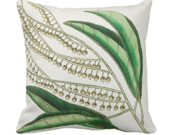 """OUTDOOR Vintage Botanical Lily of the Valley Throw Pillow/Cover, 14, 16, 18, 20, 26"""" Sq Pillows/Covers Leaves/Nature/Plant Dark Green Print"""