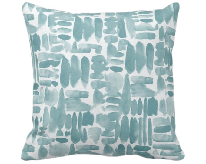 """OUTDOOR Brush Strokes Throw Pillow or Cover, Lagoon Blue/Green 14, 16, 18, 20, 26"""" Sq Pillows/Covers Watercolor/Hand-Painted/Modern/Abstract"""