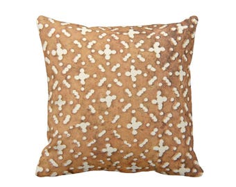 """OUTDOOR Mud Cloth Printed Throw Pillow/Cover, Tan/Off-White 14, 16, 18, 20, 26"""" Sq Pillows/Covers, Mudcloth/Boho/Tribal/Geo African Print"""